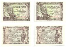 BILLETES DE 1 PESETA DE 1945 (SC) ISABEL LA CATÓLICA (SERIE A / PAREJA)