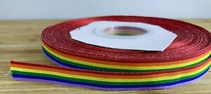 Thin Rainbow Ribbon Gay Pride Birthday Christmas Gift Bow Present SOLD PER METER