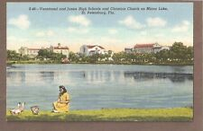 VINTAGE POSTCARD UNUSED JUNIOR HIGH SCHOOL & CHURCH ST PETERSBURG FLORIDA