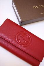 NEW AUTHENTIC GUCCI RED SOHO LEATHER CONTINENTAL WALLET