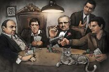 GANGSTERS PLAYING POKER POSTER Goodfellas Godfather Scarface, Size 24x36