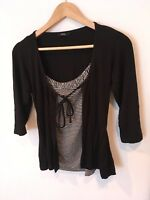 Ladies Marks And Spencer Black Cardigan Built In Vest Stripped Size 12 <SW1239
