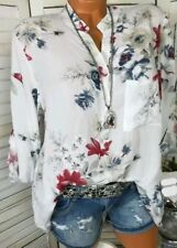 Women V-neck Chiffon Tops Long Sleeve Tunic Blouse Flower Print Shirts Plus Size