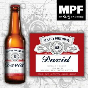 Personalised Birthday Beer/Lager Bottle Labels (Bud) - Novelty Gift