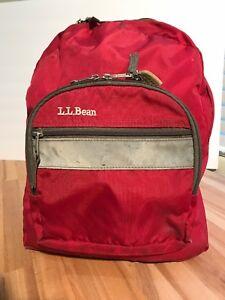 LL Bean Red Nylon Backpack Book Bag School Daypack Lightweight