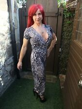 LOVELY BLACK & GREY ANIMAL PRINT BODYCON STRETCH TROUSER PLAY JUMPSUIT ~ UK 10