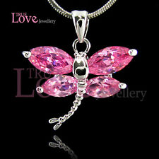 Pink Cz Dragonfly Necklace Np1414 18K White Gold Gp