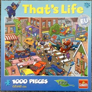 Goliath That's Life Traffic Chaos 1000 Piece Jigsaw Complete but 1 damaged pc