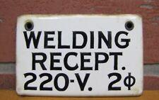 Vintage Porcelain Enamel Home Tin Plate Door Sign Electricity 220v