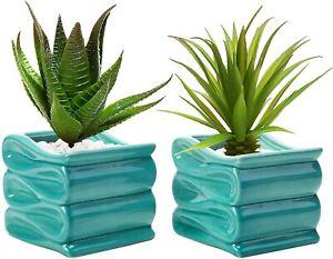 MyGift Set of 2 Mini Modern 4 Inch Aqua Blue Folded Design Ceramic Plant Pots