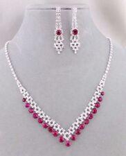 Pink Rhinestone Necklace Set Silver Fashion Jewelry NEW Pretty