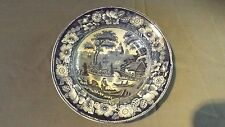 Blue & White China Soup Plate, Flower Border with Village Scene