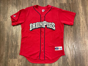 Authentic Lehigh Valley IronPigs Jersey RARE Large Red Made USA