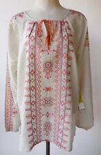 Sigrid Olsen Signature Sand Terracotta Embroidered Peasant Style Top M NWT $139