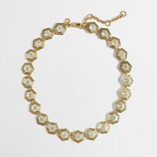 NWT J. CREW Crystal Geometric Necklace - Includes J. Crew Jewelry Pouch
