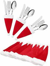 20Pcs Christmas Santa Hats Silverware Holders For Party Dinner Table Decor