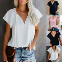 Womens Ruffle Short Sleeve V Neck T Shirt Ladies Casual Blouse Summer Shirt Tops