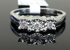 White Gold Past Present Future Three Stone Engagement Diamonds Wedding Ring