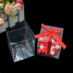 50Pcs/lot PVC Transparent Gift Box Clear Square Wedding Favor Party Candy Boxes