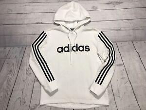 adidas athletic hoodie sweater adult large medium white black 3 stripes trefoil