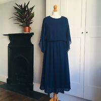 Vintage 70s Navy Blue Embroidered Leaf Pattern Long Kimono Sleeve Dress 10