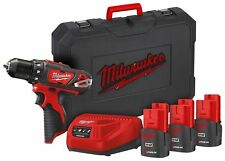 MILWAUKEE TRAPANO AVVITATORE 12V Litio 3 Batterie  mod. M12BDD-153C NUOVO!