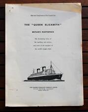 CUNARD WHITE STAR LINE RMS QUEEN ELIZABETH POST WAR MAIDEN VOYAGE PRESS RELEASE