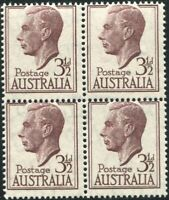 Australia 1951 SG247 3½d brown-purple KGVI block MNH