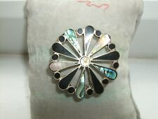 SILVER INLADE ABALONE AND BLACK ENAMEL FLOWER BROCH, C.1960