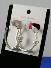 Kate Spade Gleaming Gardenia Flower Hoops Earrings Silver Tone Authentic