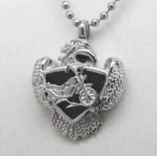 Motorcycle Cremation Jewelry Urn Biker Necklace Eagle Memorial Keepsake Urns