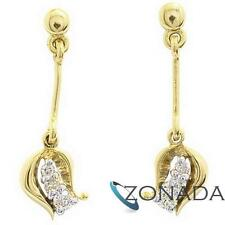 Petal Diamond 9ct Solid Yellow Gold Drop Stud Earrings 54875