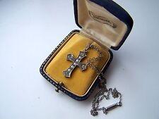 """Vintage perlas de semilla de plata esterlina sólida Cruz Colgante 17"""" Cadena Broche de barril"""
