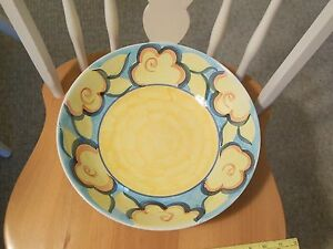 HERITAGE Hand Painted pasta salad serving fruit display bowl Artist's Touch WOW