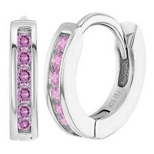 "925 Sterling Silver Pink CZ Small Hoop Earrings for Girls Kids 0.39"""
