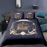 Historic Ship Heritage Model 3D Quilt Duvet Doona Cover Set Pillow case Print