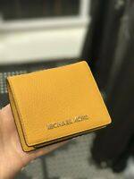 NWT Michael Kors Women Carryall Small Coin Holder Leather Wallet Marigold/Yellow