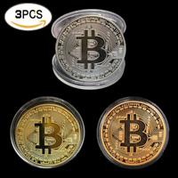 HOT 3pcs/set Plated Bitcoin Coin Collectible BTC Coin Art Collection Gift Phys