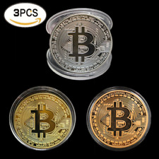 HOT 3pcs/set Plated Bitcoin Coin Collectible BTC Coin Art Collection Gift Phys