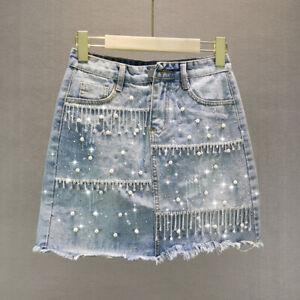 Women Short Skirt Denim Jean Beaded Rhinestone High Waist Casual Blue Tassels
