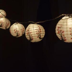"Cherry Blossom / Sakura Paper Lantern Party String Lights (4"", 8FT Black Cord)"