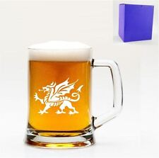 1 English Pint Glass Tankard With Welsh Dragon Design with gift box