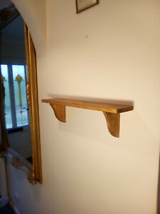 Hanging Wooden Wall Shelf Solid Pine with Brackets