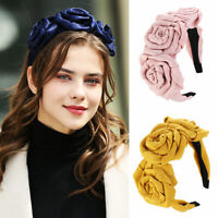 Women's Rose Flower Headband Hairband Wide Hair Band Hoop Accessories Bands~