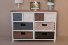Camber Wide 8 Drawer Storage Chest Multicoloured Rattan Wicker Basket Drawers