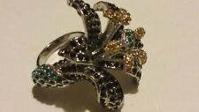 ROSA MONCKTON Cocktail STATEMENT Rhinestone ORCHID RING Size O.New/Original Box*