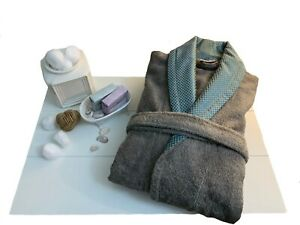 *NEW* ERTS Men's Robe, Turkish Cotton Gray Bathrobe Large/XLarge