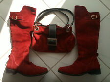 woman real leather boots size 40 cherry color and matching bag
