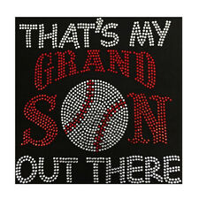 Baseball That Is My Grandson Out There Bling Fashion Ladies Rhinestone T-shirts