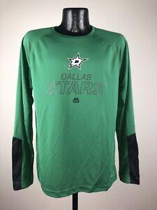Men's Majestic Dallas Stars Cutting Through Green Polyester Long Sleeve Shirt L